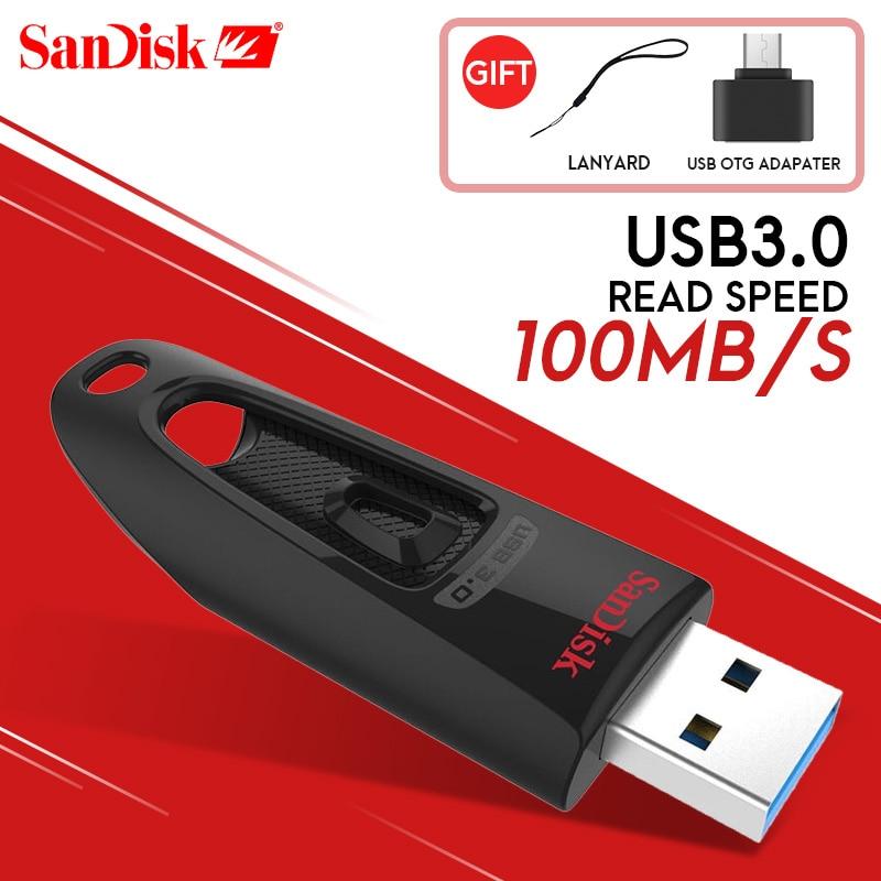SanDisk USB флэш-накопитель 256 ГБ 128 ГБ 64 ГБ 32 ГБ 16 ГБ USB 3,0 100 МБ/с. мини ручка ...