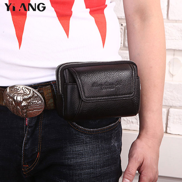 f5af5a245aec7 YIANG Luxury Waist Bag Leather Belt Pouch for Men Business Waist Packs for  iphone Samsung