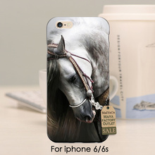 Hot Sale Beautiful white horse Animal TPU case for iphone 4s 5s 5c 6 6Plus 7 Plus case