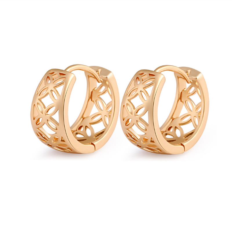 Top Quality Yellow Gold Color Hollow Flowers Small Hoop Huggie Earrings  Anti Allergy Jewelry for Women Kids Children Girls-in Hoop Earrings from  Jewelry ... b44937557971
