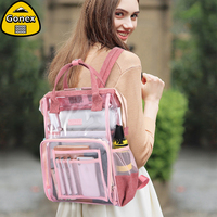Gonex INS Style Clear Backpack PVC Transparent Shoulder Bag for Women Swimming Beach School Shopping Lady Pink Girlfriend Gift