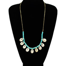 Fashion Natural Shell Pendant Long Chain Necklace Women Stone Beads Creative Choker Necklace Bohemian Jewelry недорого