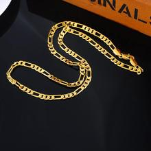 2016 NEW Fashion 1PC Genuine Pure Gold Color Links Chain Necklace 4.2mm Fit DIY Fine Punk Men Jewelry Cool Style 59.5cm