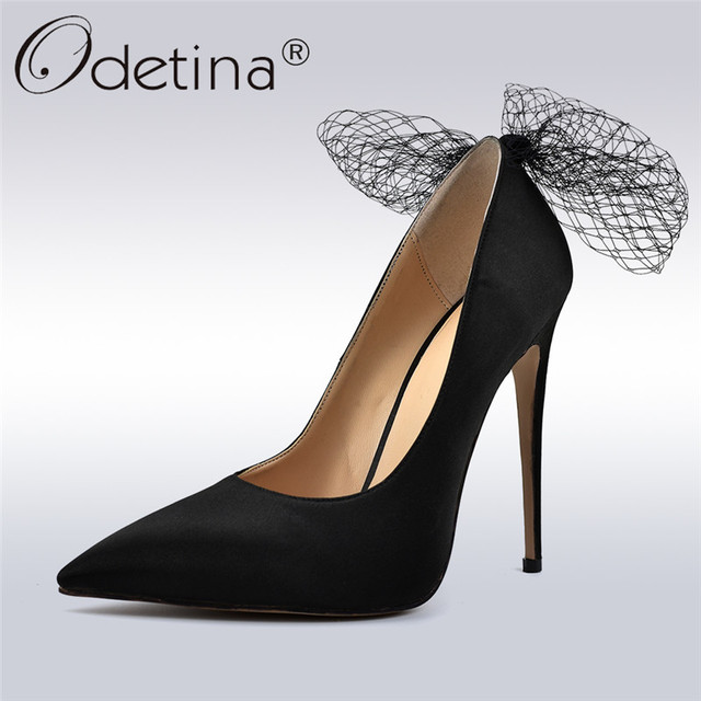 b174c440443 Odetina Fashion Women Sexy Extreme High Heels Pointed Toe Pumps 12 Cm Big  Bow Tie Party Shoes For Ladies Stilettos Dress Shoes