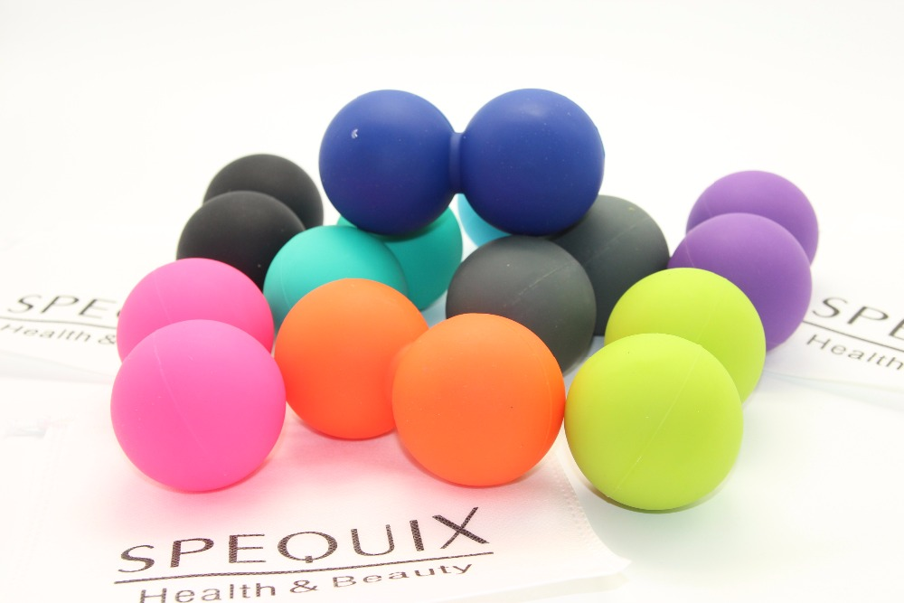 цена на Silicone Elastic Peanut Yoga Massage Roller Ball Physio Gym Excise Relief Mobility Tool Double Cross Ball for yoga