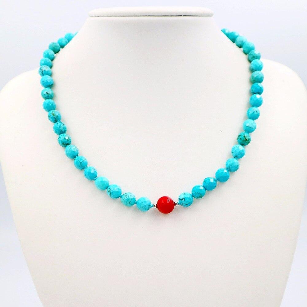 Naturstein Blau Farbe Türkisen Verkrustete 8mm Faceted Perlen & Rote Koralle 9-10mm Runde Perlen Magnet Verschluss mode Halskette 18 ''/45 cm