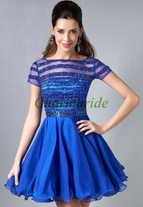 short tulle homecoming dress in royal blue2015 cute women