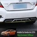 Apto Para Honda Civic 2016 2017 Amortecedores Choques Traseiro Difusor Lip Guard Protector skid placa ABS acabamento Cromado 1Pes