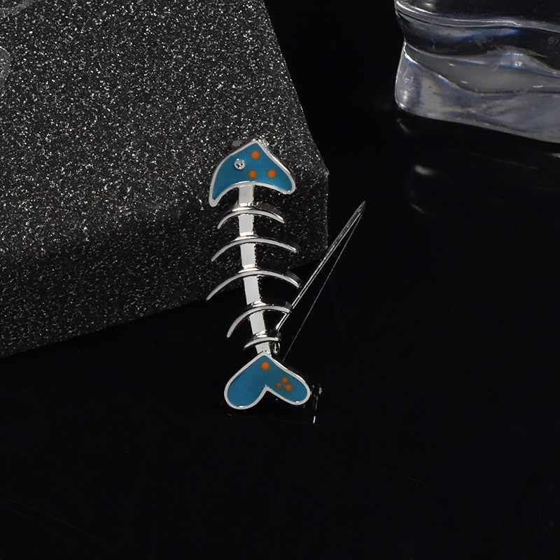 Azul bonito Dos Desenhos Animados Pequeno Osso de Peixe Broches para As Mulheres Da Moda Jóias Esmalte Pino Crachá Gola Jaquetas Jeans Botão Ícone de Bugigangas