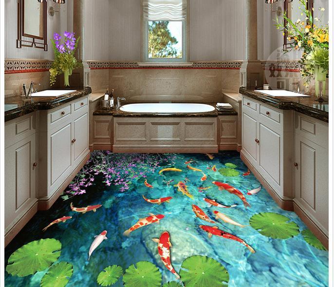 Papier peint photo personnalisé 3d revêtement de sol peinture papier peint étang d'eau carpe salle de bain toilette 3 d chambre étage papier peint décoration - 2