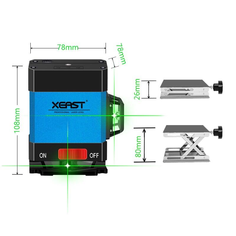 XEAST 2018 Hot 12 line poziom lasera do układania płytek samopoziomujący 360 poziome i pionowe krzyż zielony poziom lasera 3D