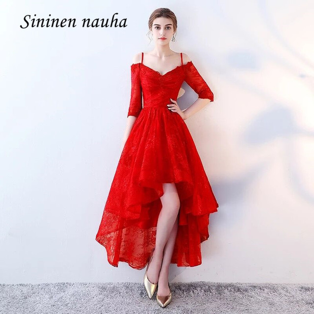 f65ef7a0cd52 Red Prom Party Dresses Sleeves High Low Off Shoulder Lace Homecoming  Cocktail Dress For Graduation Juniors Vestido De Festa 169