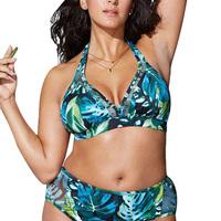 Green Printed Swimsuit Plus Size Large Bra   Swimming   Suit For Women Halter High Waist Push Up Bikini Set Women's Swimsuits Beach