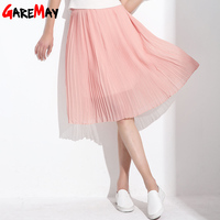 GAREMAY Women Long Chiffon Skirts Summer Pleated Black White Skirt School Faldas Largas Plus Size Bohemian