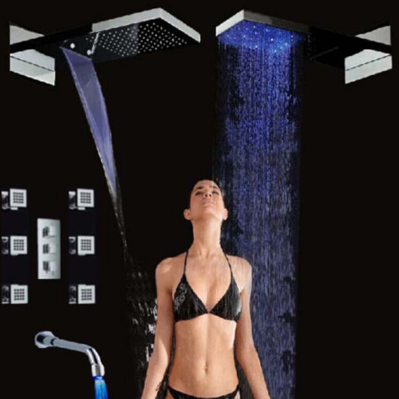 Wholesale And Retail New LED Waterfall Shower Head Thermostatic Valve Mixer Tap Massage Jets Tub Spout