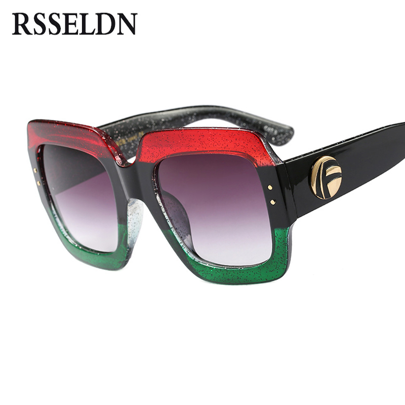 RSSELDN Oversized Square Sunglasses Women Fashion Gradient Lens Sun Glasses For Women Brand Luxury Black Green Red Shades UV400