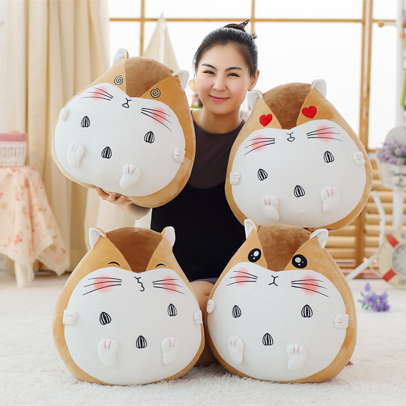 50CM Sitting Height Plush Hamster Toy Stuffed Down Cotton Fat Mouse Pillow Soft Cartoon Animal Doll for Kids Girls Creative Gift nooer kawaii cartoon dog plush toy fluffy soft stuffed animal pomeranian doll lovely dog doll for kids children girls gift