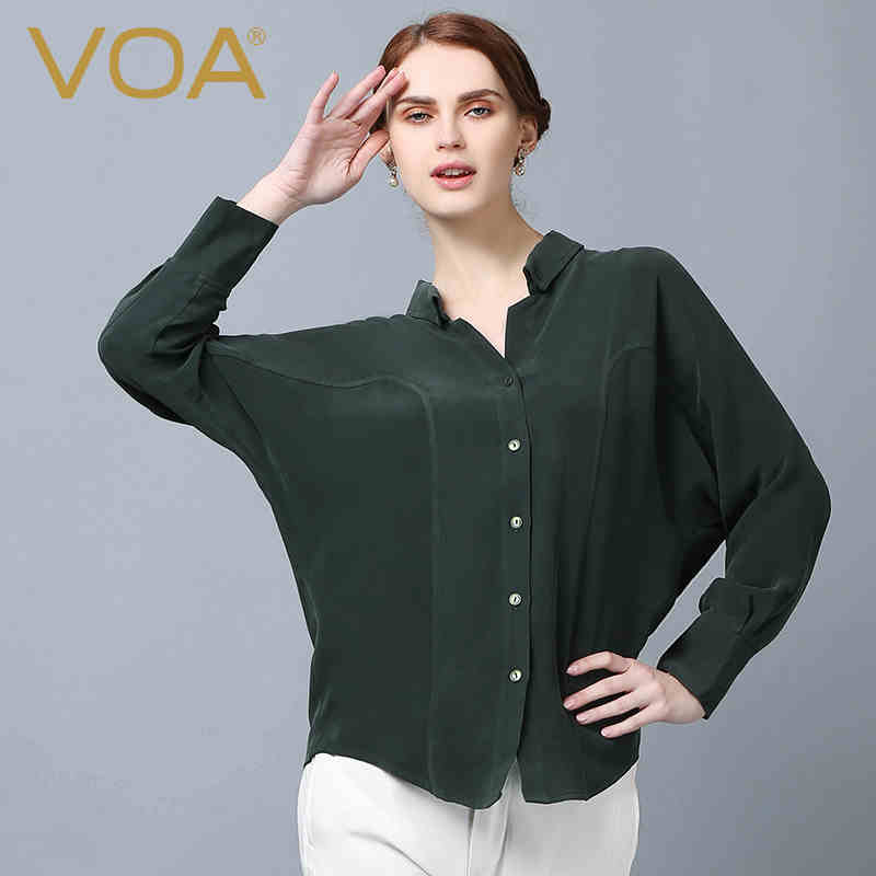 VOAThe Fall In The New Long Heavy Silk Blouse Silk font b Shirt b font Collar