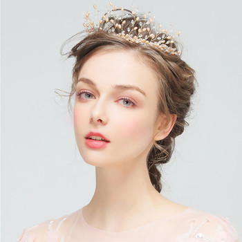 Europe And American Big Crown Pink Pearl Handmade Headband Elegent Vintage Wedding Head Veil Jewelry Bridal Headdress