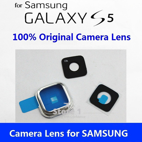 3Sets Original for Samsung Galaxy S5 Glass Camera Lens+Lens Cover 100% Original Replacement Part + Sticker image