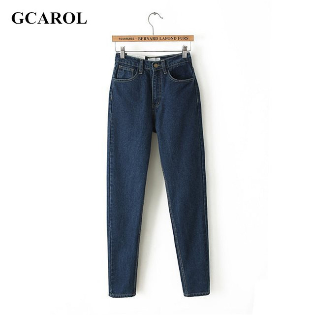GCAROL Euro Style Classic Women High Waist Denim Jeans Vintage Slim Mom Style Pencil Jeans High