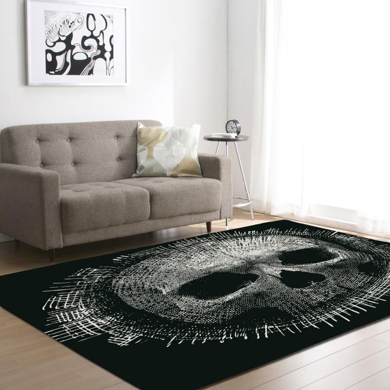 3D tapis noirs imprimés par crâne de sucre pour la pièce de literie de salon grands tapis de zone de Rectangle tapis extérieurs modernes de plancher décor à la maison