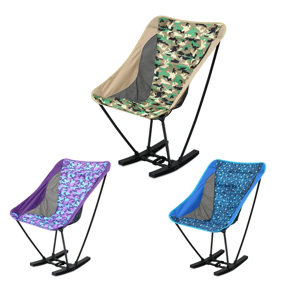 Ultralight Folding Chair Rocking Aluminum Alloy Moon Chair