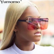 Yumomo Oversized Square Sunglasses Women Vintage Fashion Metal Gradient Orange Blue Tinted Color Mirror Feminino Eyewear UV400 стоимость