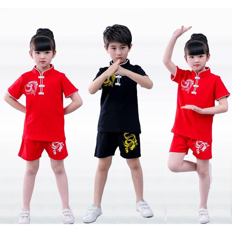 Vermetel Kinderen Tae Kwon Kids Jongen Chinese Traditionele Wushu Wu Shu Kostuum Kleding Zwart Rood Kungfu Pak Prestaties Uniformen Meisje