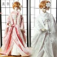 Japanese Style Bride White/Pink Roses Kimono SD10/SD13 1/3 1/4 MSD BJD Doll Clothes