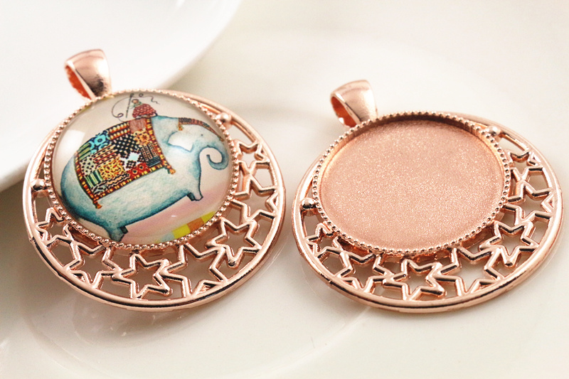 High Quality 2pcs 25mm Inner Size Rose Gold plated  Cameo Base Setting Stars Style Pendant (A6-38)