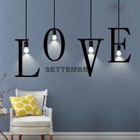 Industrial Metal Letter Pendant Light Kitchen Dining Bar Deco DIY Room Hanging Lamp