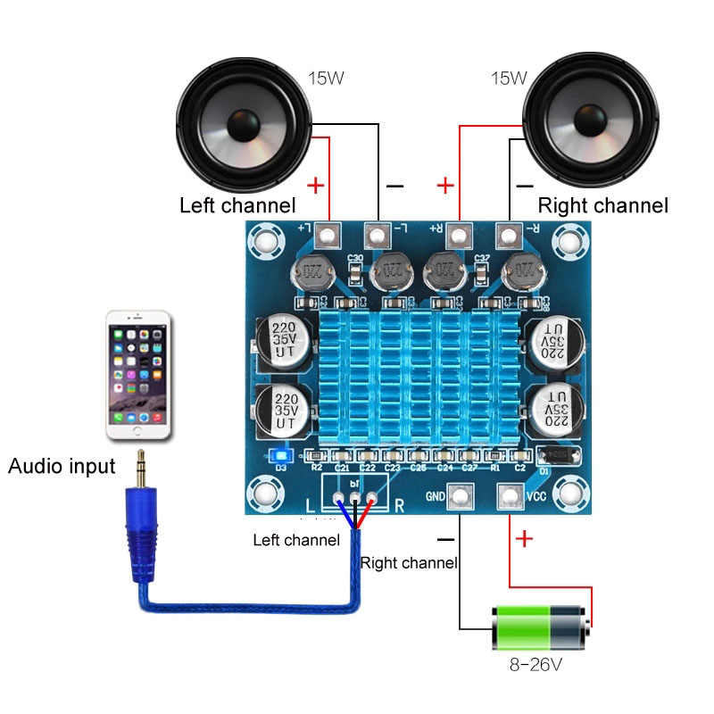 TPA3110 XH-A232 30W + 30W 2,0 Kanal Digital Stereo Audio Power Verstärker Board DC 8-26V 3A C6-001