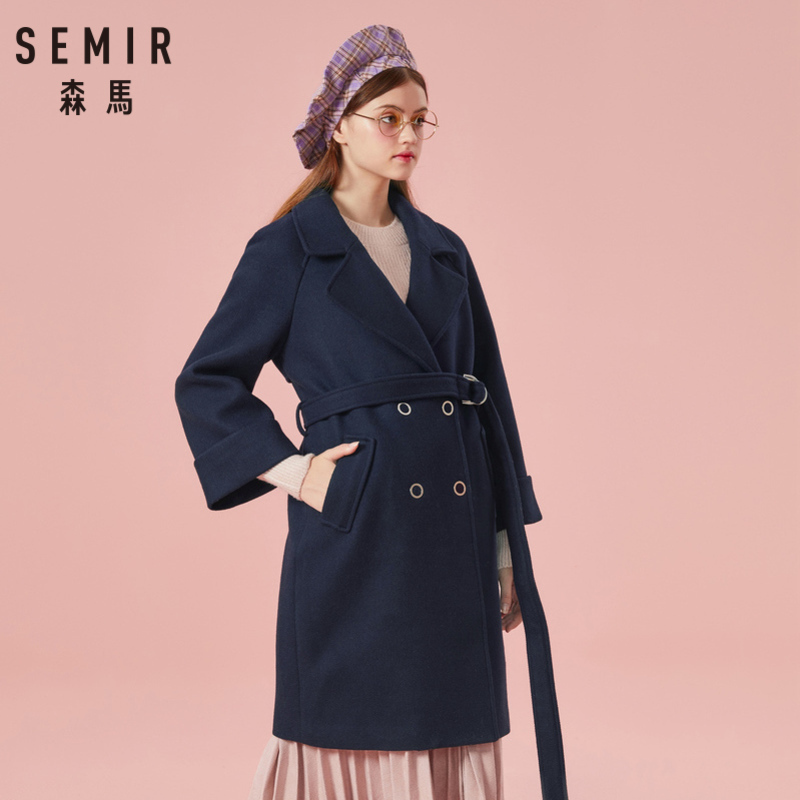 SEMIR Women Double-Breasted   Trench   Coat Women's Wool Blend Coat with Slant Pocket Silky Polyester Lined for Winter
