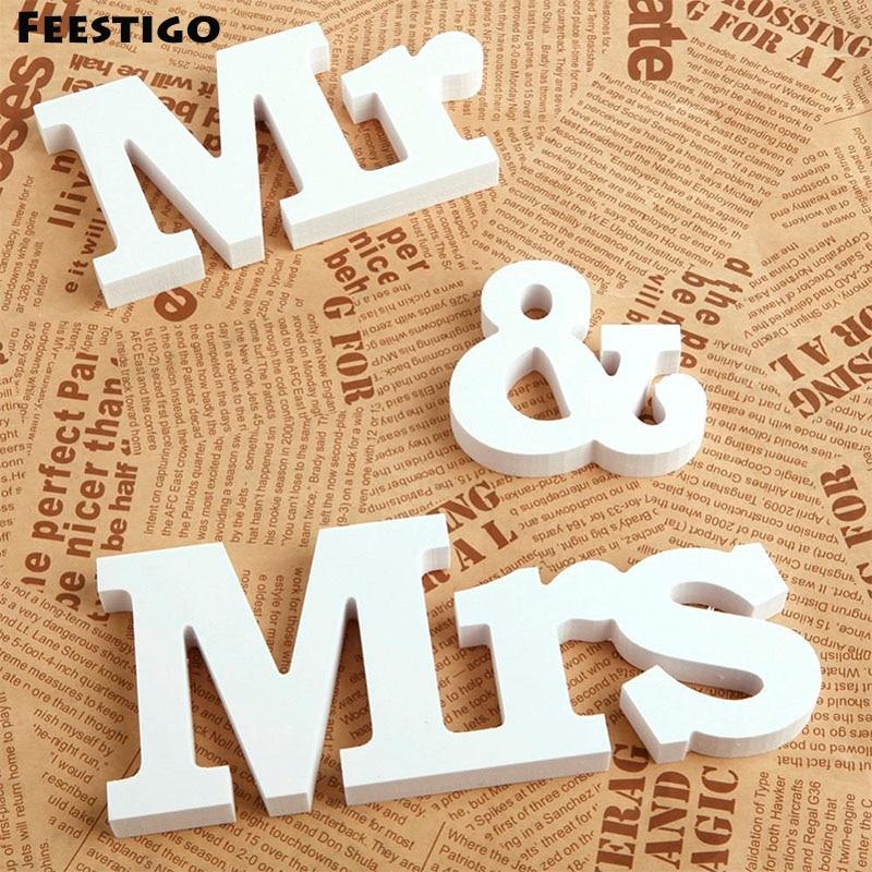 Feestigo 3 шт./компл. белые деревянные буквы Mr & Mrs знаки для свадебной церемонии Аксессуары романтический брак свадебный стол бар Декор