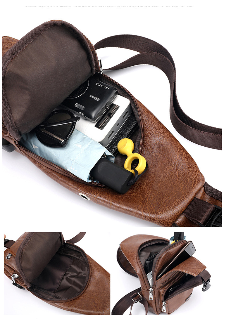 Men's Crossbody Bags Men's USB Chest Bag Designer Messenger bag Leather Shoulder Bags Diagonal Package 2019 new Back Pack Travel 10