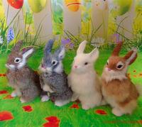 4 Pieces A Lot Simulation Rabbit Models Toy Polyethylene Furs Cute Rabbit Dolls Gift About 16x22cm