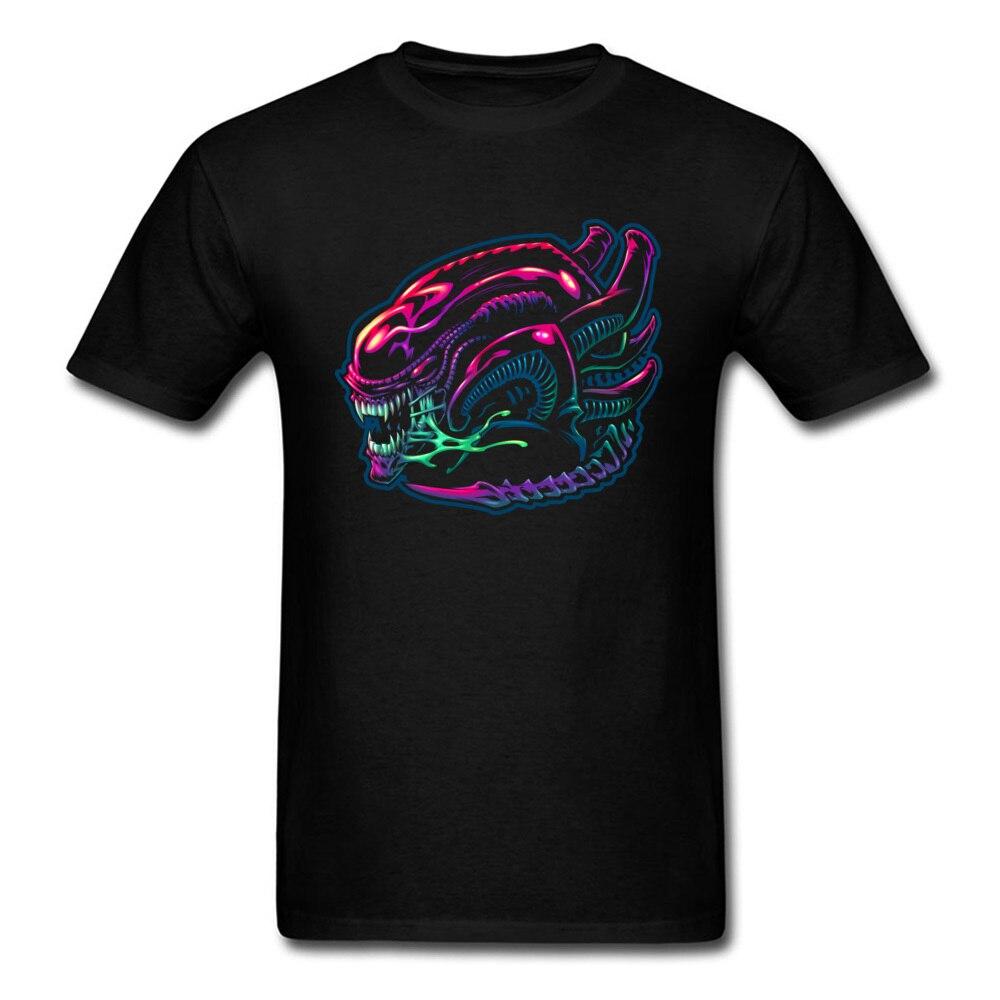 Styling Alien Warrior Print Men Black T-shirt Neon Color Fashion Male Birthday Gift T Shirts Boyfriends Cotton Clothing