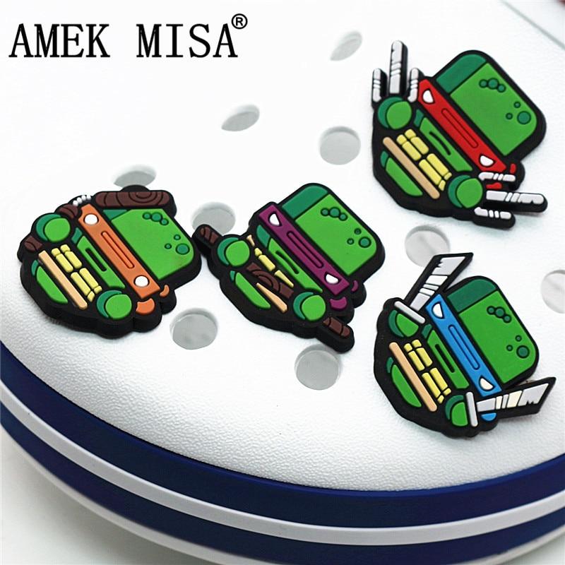 1Pcs Ninja Turtles PVC Croc Shoe Charms Accessories Teenage Mutant Garden Shoe Decoration For Jibz Kid's Party X-mas Gift