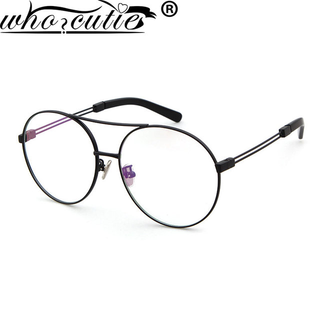 7aa7c58e1d WHO CUTIE Brand Optical Eyeglass Women 2017 Retro Oval Metal Frame Eyewear  Spectacles Vintage glasses Clear
