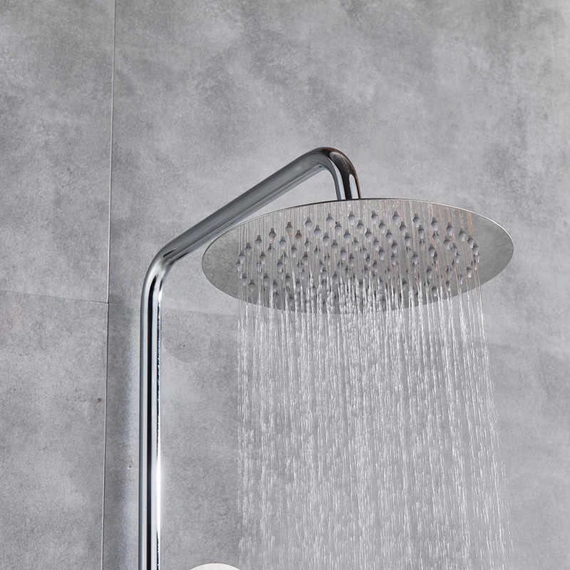 Termostatik duş seti çift kolu yağış banyo duş bataryası el duşu ile duvara monte krom duş mikser musluk
