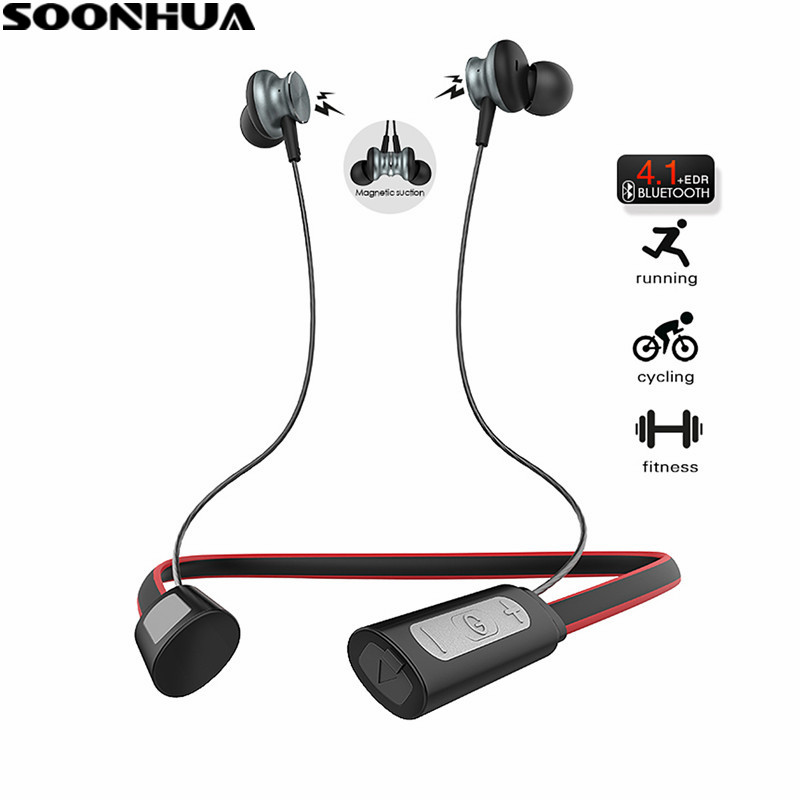 SOONHUA Wireless Magnetic Sport Bluetooth Earphone Stereo Earbuds Headset Earbuds Metal Neck Hook HiFi Handsfree Headset