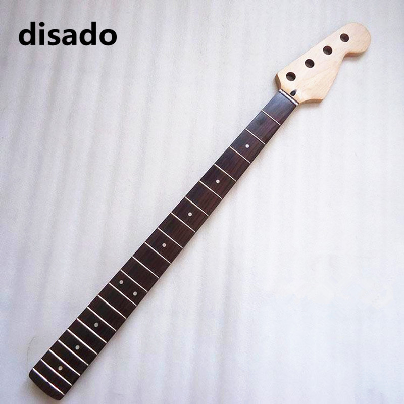 disado 20 frets maple electric bass guitar neck with rosewood fingerboard inlay dots glossy paint guitar parts accessories - 1