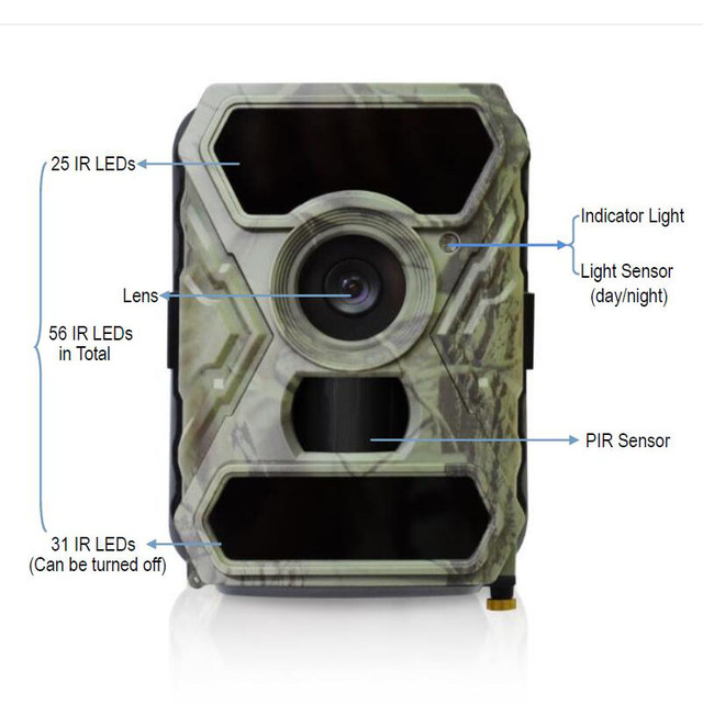 Game Trail Hunting Camera 12MP 1080P HD Wide Angle Infrared Night Vision 56pcs IR LEDs Scouting Cam Digital Surveillance Camera