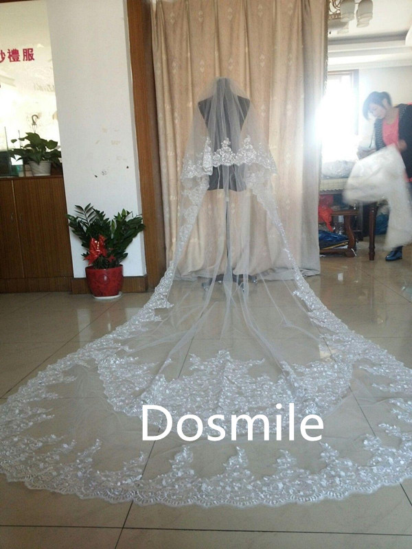 2016 real photos 3 Meter Cathedral Crystals Beads Wedding 2 T Ivory&White Two Tiers Lace Edge Appliques Bridal Veil Free Comb