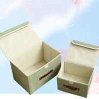 26 20 17cm Linen Underwear Storage Box Folding Cloth Bra Underwear Storage Bag Socks Clothing Books
