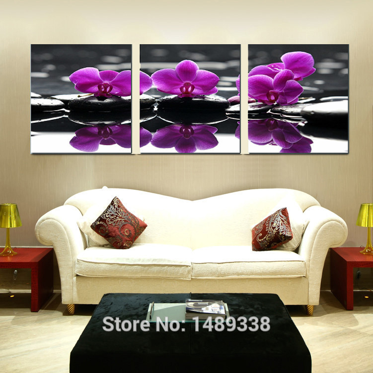Aliexpress Com Buy Free Shipping 3 Piece Wall Decor: 3 Piece Free Shipping Hot Sell Modern Wall Painting Purple