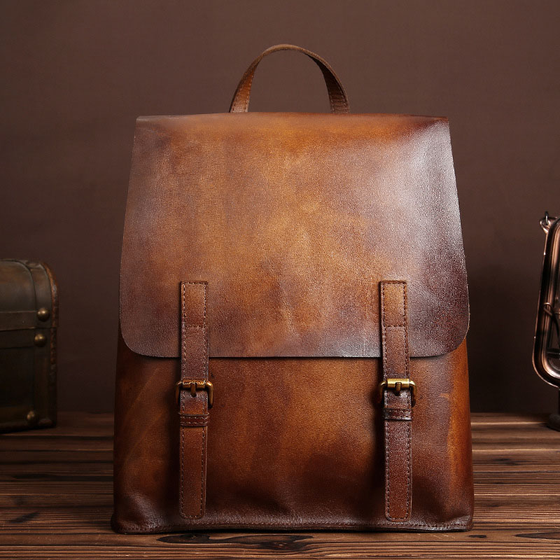 Vintage Genuine Cow Leather Backpack Men Cowhide Mens Male Leather Travel Bags Fashion Brush Color School Bag For Boys LS8841