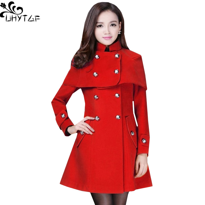 UHYTGF Plus size Winter Woman Woolen Coats 2018 Korean Fashion Ponchos and Capes Woman Elegant long Coats Women High quality 382