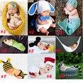 Bebê Recém-nascido Fotografia Props Traje Criança Animais Beanie com Fralda Cobrir Casulo Feito À Mão Chapéu Feito Malha 0-12 M SG041